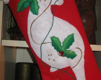 Handmade red felt Christmas stocking with white cat silhouette