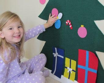Felt Christmas Tree - 20 piece set, blue and pink