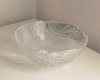 Mid Century Faux Bois Glass Accent Bowl — Woodgrain Pattern