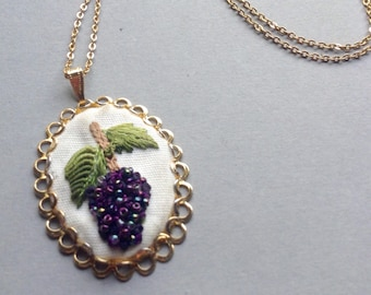 b85ecac16 70's Embroidered Fruit Cameo Pendant Necklace, original, grapes necklace,  retro jewelry, handmade, Greece