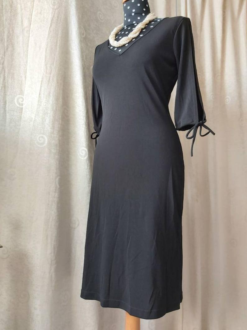Greece slit sleeves Niche designer made in USA body conscious sexy The Little Black Dress Retro black dress