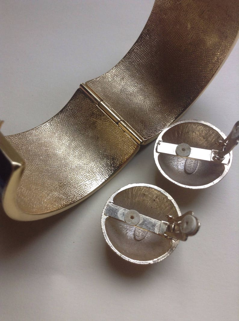 checkered Modernist statement Bracelet /& Clip Earrings 70/'s Lanvin of Paris enamel inlay SALE Retro runway designer signed Greece