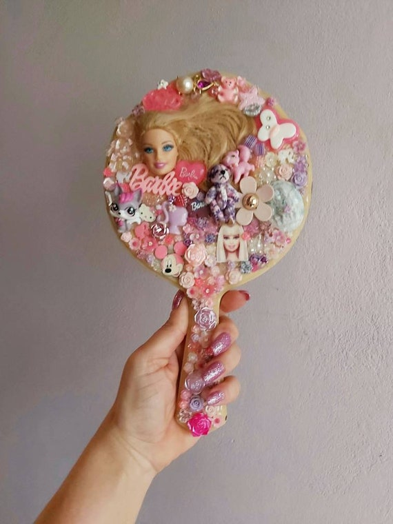 Upcycled, Vintage, Celluloid, Hand Held Mirror, va