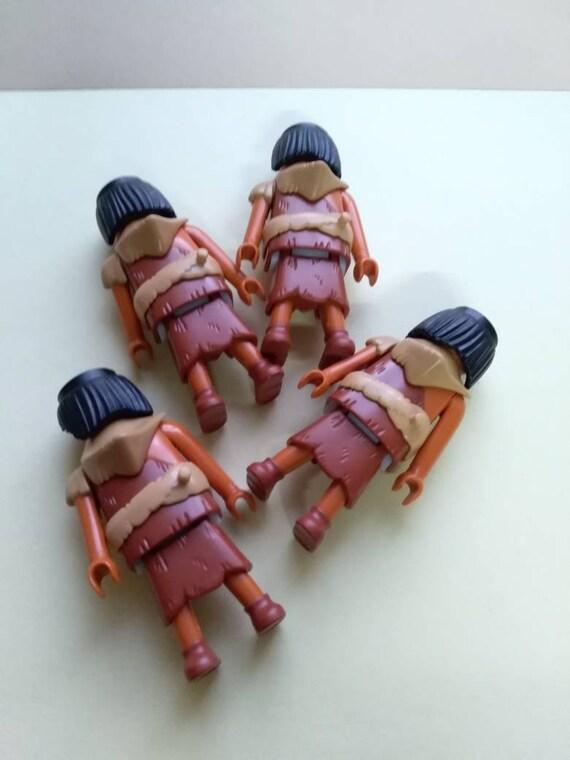 Höhlenmenschen Playmobil Geobra Figuren, Satz von 4, Knochen, Vintage Spielzeug, Original, Sammlerstück, Griechenland