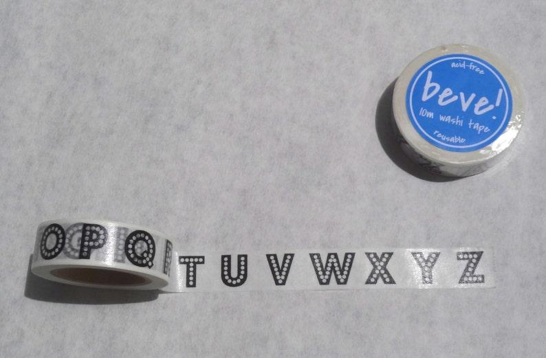 beve original design Marquee Black and White 15mm x 10m Alphabet Washi Tape