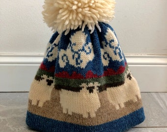 2557ce89e5a0c Fair Isle Knit Hat with Large Pom Pom - 100% Wool - Vintage - Sheepscape Hat  - Adult Medium - One Size Fits Most