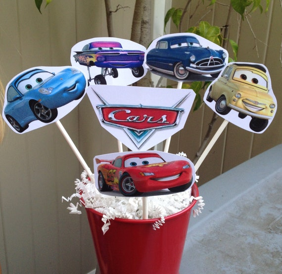 CARS Centerpiece Sticks Disney Inspired Party