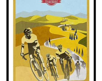 Retro cycling Strade Bianche print, poster, illustration, design