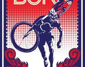 vintage retro styled cyclocross cycling poster: Feel the Burn 11X17