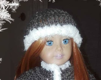Hand crochet coat and hat with fur trim fits 18 inch dolls such as American Girl