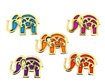 Jesse James Buttons 5 pc BOLLYWOOD Elephant Buttons OR Turn them Into Flatback Decoden Cabochons (#226)