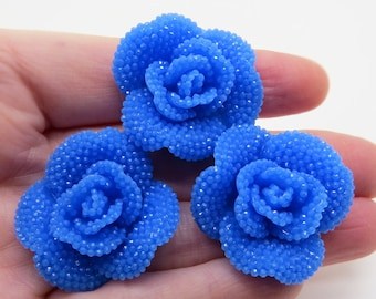 Blue Faux RHINESTONE Roses Decoden Flatback Resin Flower Cabochons 34mm (3 pieces), Blue rose cabochons, Blue rose flowers