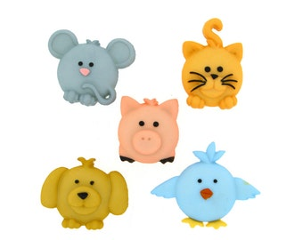 Jesse James Buttons 5 pc Pudgy Pets Bird, Pig, Cat, Dog, and Mouse Buttons OR Turn them Into Flatback Decoden Cabochons (207)