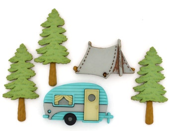 Hittin the Trail Buttons by Dress It Up  Jesse James Camping Camper Trailer Tent Great Outdoors Family Fun Vacation Woods