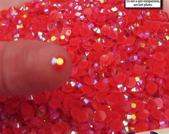 200 pcs 4mm AB SALMON PINK Jelly Deco Flatback Rhinestones (4-16)