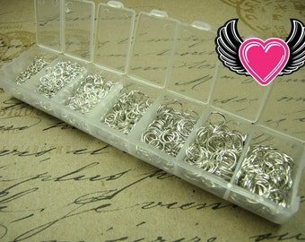 1500 pcs Silver Open Jump Rings Set with Case Box 3-8mm Ships from Florida