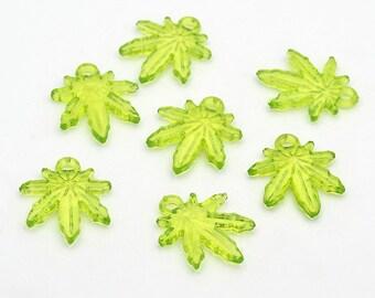 20 pc Marijuana Leaf Weed acrylic charms, pot charms, light green 24x20mm(GR32)
