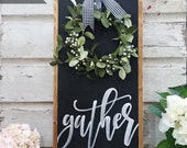 Gather Sign , Gather Wood Sign , Home Decor Sign , Thanksgiving Signs , Large Gather Sign , Fall Wall Decor , Buffalo check with Wreath
