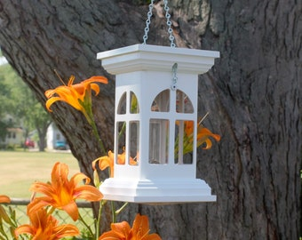 PVC hanging white tube bird feeder, New England Cathedral style, durable, multiply openings, ez fill, ez clean, US handcrafted, small feeder