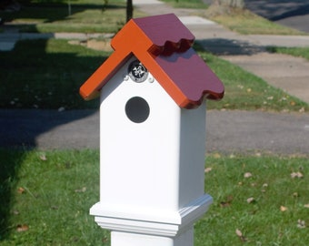 Weatherable PVC /wood Birdhouse to cap a 4 x 4 PVC post, outdoor, Terra Cotta roof functional, low maintenance , PVC . handmade in Buffalo