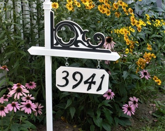 Weatherable, PVC house number holder-free standing sign with decorative Celtic bracket. white PVC - independent number sign holder