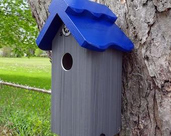 Bluebird house, PVC,cedar wood,outdoor birdhouse,fully functional,virtually maintenance free,post mount,modern,Made in USA