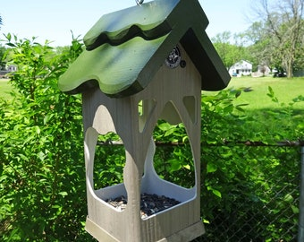Outdoor Hanging PVC Birdfeeder, weatherable ,unique modern tray feeder, fully functional, handmade in USA, ez clean, ez fill, open viewing
