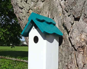 All PVC weatherable Bluebird house, nesting box, fully functional virtually maintenance free, post mount, modern, Made in US hand crafted