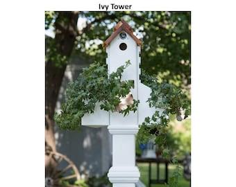 PVC Ivy tower, unique planter, cleanable bird house, bird feeder, suet holder, US made, functional garden accent, PVC free standing planter