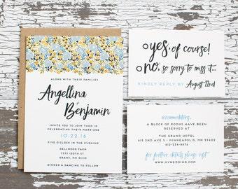 Floral Bliss Wedding Invitation (Blue Edition)
