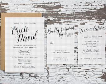 Classic Gingham Wedding Invitation