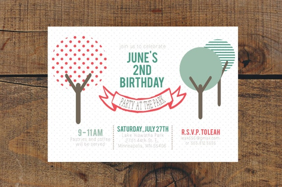 Party at the Park Birthday Invite: Digital File