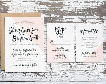 Blush Color Block Wedding Invitation