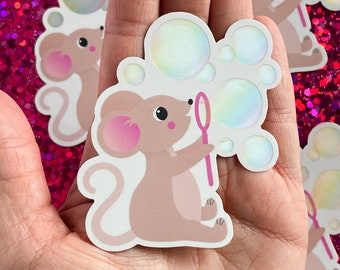 Cute Mouse Blowing Bubbles Sticker Vinyl Decal Cartoon Animal for Kids Fun Cute Adorable Happy Forest Critter Creature Waterproof Summer Fun
