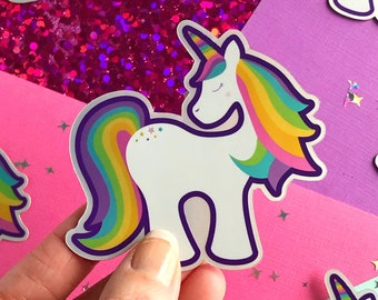 Rainbow Shimmer Unicorn Vinyl Sticker Decal | Waterproof Unicorn Decal for Water Bottle | Sticker for Laptop | Gift for Girls | Holographic