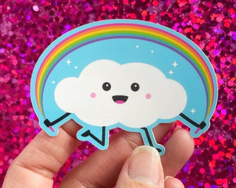 Cute Cloud with Rainbow Jump Rope Kawaii Sticker Vinyl Decal | Happy Sticker Small Cheer Up Gift | Waterproof Laptop Radiate Positivity