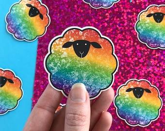 Rainbow Sheep Sticker | LGBTQ Pride Sticker | Gay Pride Month Sticker | Queer Gift Gay Animals | Knitter Transgender MTF FTM Equality Cute