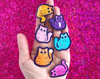 Cute Cat Sticker Pack | Fat Chonk Cat | Chunky Kitty Vinyl Decals | Crazy Cat Lady Gift | Cat Lover | Cat Mom Colorful Pastel Kitten Set
