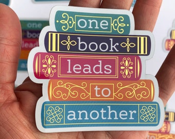 One Book Leads To Another Sticker | Stack of Books Bookish Decal for Book Lover Librarian Book Cart Bookworm Author | Nerd Gold Bibliophile