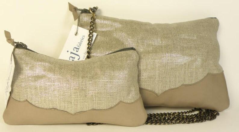 L\u00c9NA BAG shiny linen and grey leather