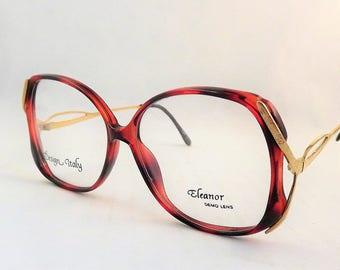 Big Vintage Glasses, Womens Mod Eyeglasses, Tortoise Shell Glasses, Brown and Gold Eyeglasses, Gold Metal Frames, 1980s NOS Glasses