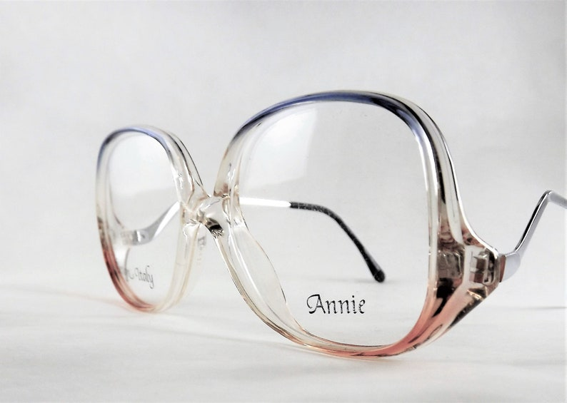 91202dac6fcf Womens Clear Eyeglasses Salmon Pink and Blue Glasses Silver
