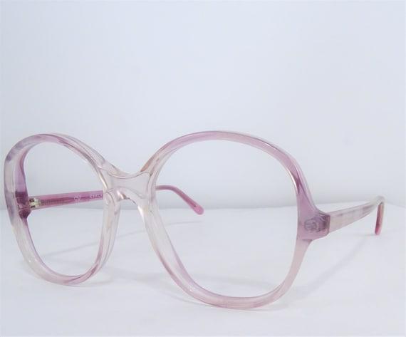 Round Pink Eyeglasses, Vintage Womens Oversized Ey