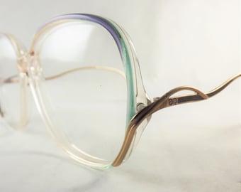 Big Eyeglasses, Womens Big Green Blue and  Gold Frames, Fun Vintage Glasses, Designer Oscar De La Renta 1980's Eyeglasses, Clear Eyeglasses