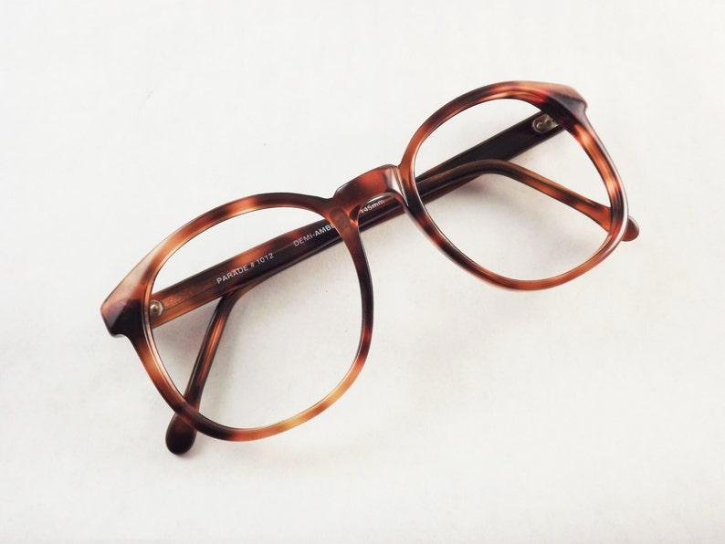 Tortoise Shell Eyeglasses 1980s Glasses Frame Women Brown image 0