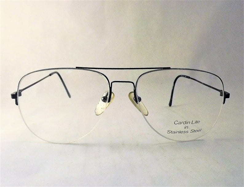 5aa6e9b3e Blue Metal Rimless Aviator Eyeglasses Vintage 1980s Designer   Etsy