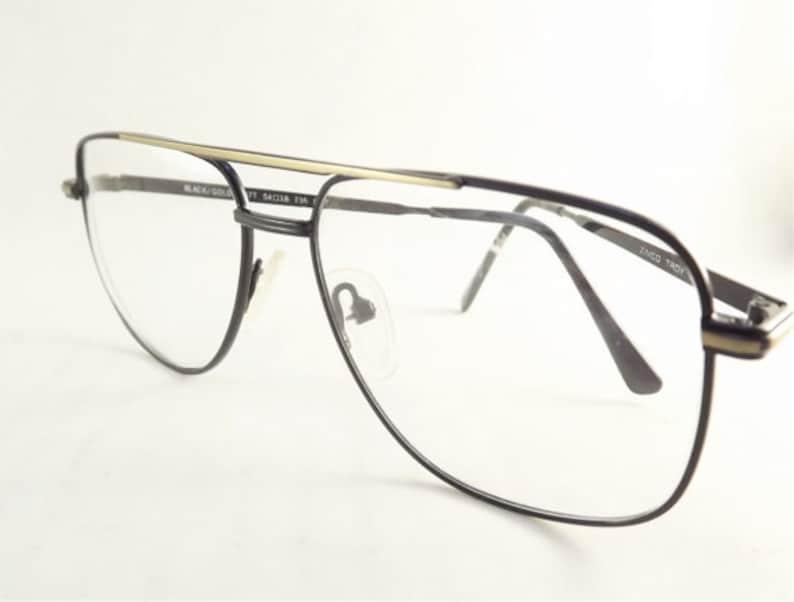 3e0f5db155 Gafas de aviador para hombre negro lentes de Metal oro y | Etsy