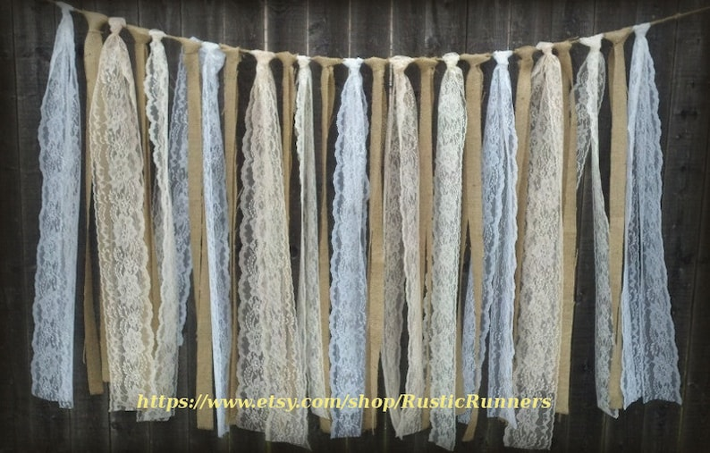 72inches Wedding Backdrop Garland Reception Lace Party Rustic Shabby Chic Butlap