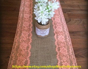 Rustic Charm Wedding Burlap and Coral Lace Table Runner size 14 X 72, Coral Lace for a Beach wedding, Bridal shower party, event or shower