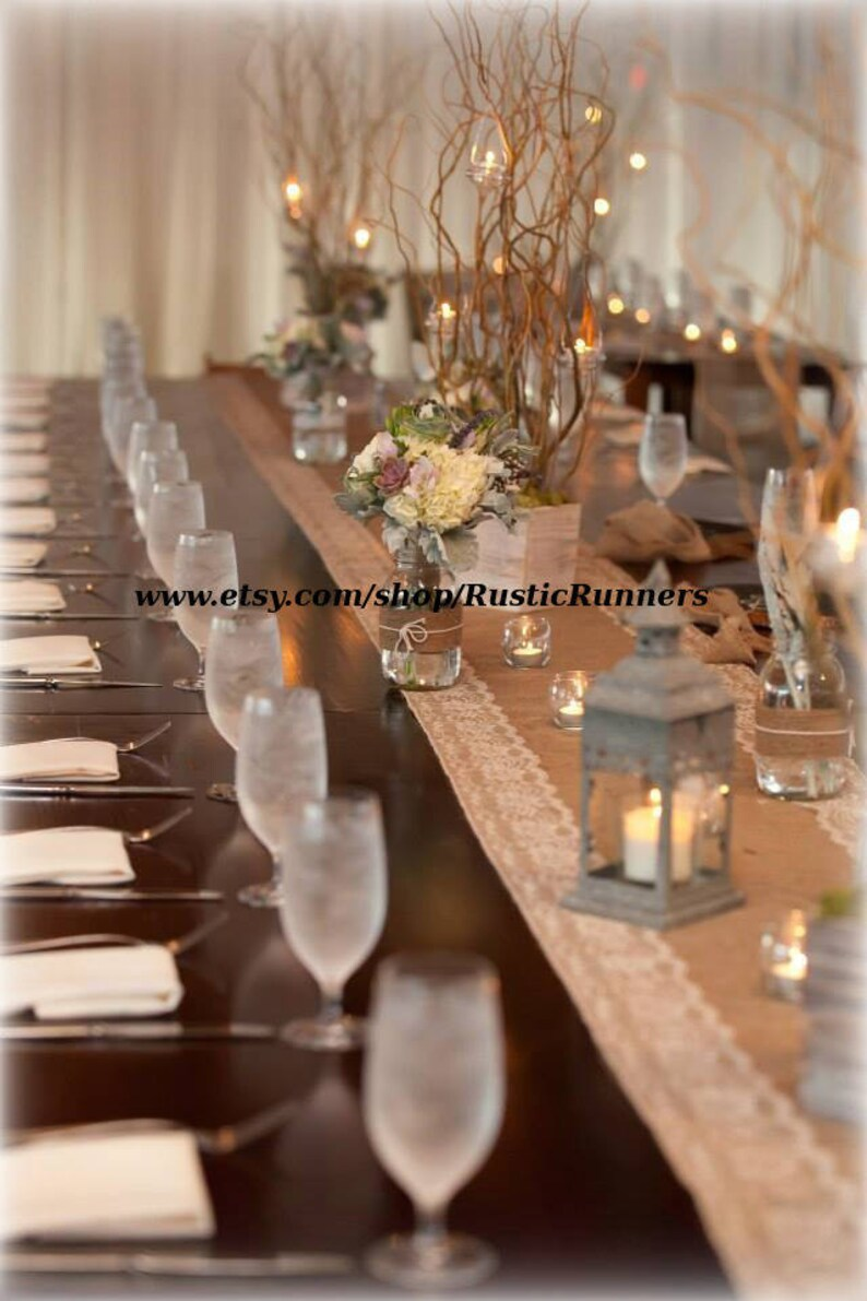 6b85b9b7056 Rustic Wedding Burlap and Natural color Lace Table Runner size